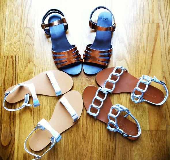 all 2013 asos sandales sandals pastelle chaine iridescent silver gold bronze_effected